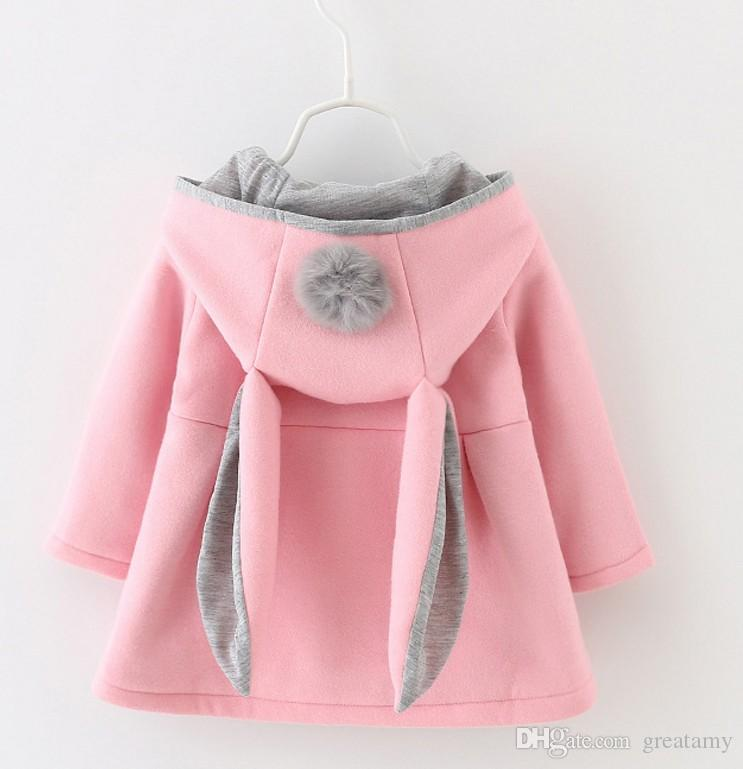 bcded83e55d46 2019 Hot Cute Rabbit Ear Hooded Baby Girls Coat New Autumn Tops Kids Warm  Jacket Outerwear   Coat Children Clothing Baby Wear Girl Coats From  Greatamy