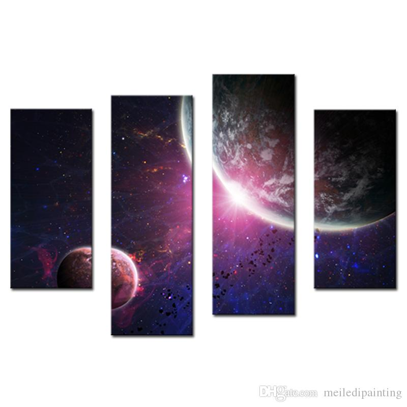 Amosi Art-Wall Art Purple Colourful solar system planets Earth of Painting Printed on Canvas for Home Modern DecorWooden Framed