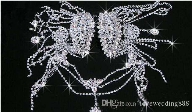 Elegancki ślub Naszyjnik Naszyjnik Rhinestone Drop Naszyjnik Kolczyk Wedding Party Ciała Łańcuch Ramię Biżuteria Frezowanie 2017