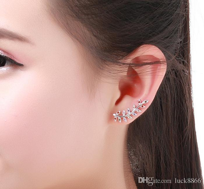S925 sterling silver leaf claw insert drilling earnail