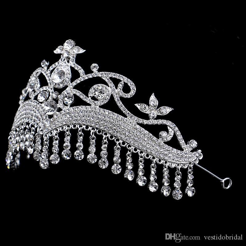 2018 럭셔리 신부 크라운 스파클 크리스탈 로얄 웨딩 크라운 장식 크리스탈 베일 머리띠 헤어 액세서리 파티 왕관 머리띠