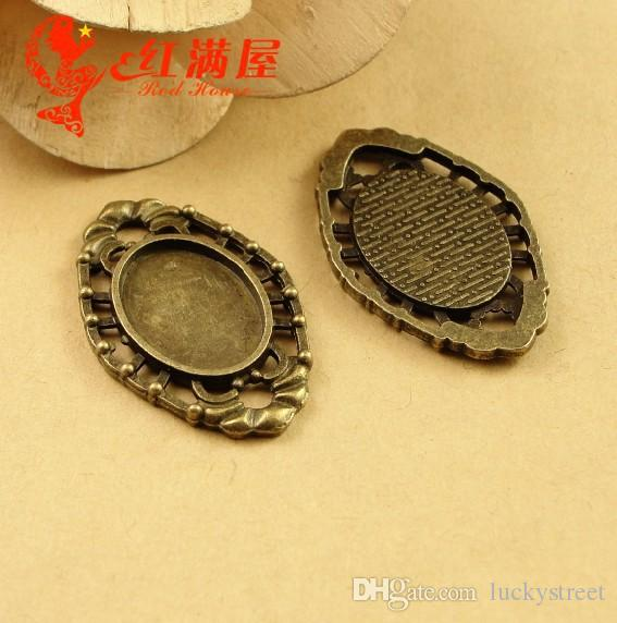A3487 22*35MM Fit 18*13MM Antique Bronze DIY handmade jewelry setting retro bottom bracket parts, oval metal stamping blank base tray