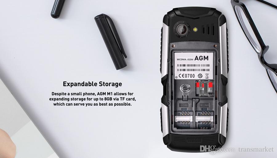 AGM M1 Tri-proof phone 2.0Inch IP68 Waterproof 3G WCDMA 128MB+64MB Mobilephone 2750mAh Dual SIM Card Bluetooth Dustphone 2017 New Arrival
