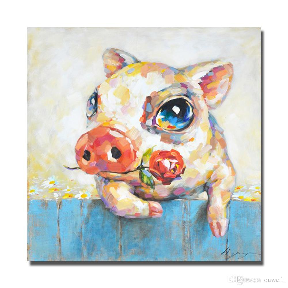 new design decorative cartoon pig pictures large size cheap oil painting hand made cnavas wall art