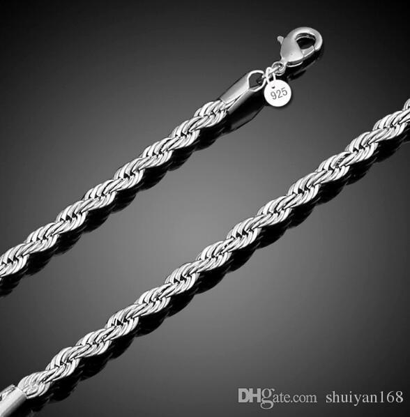 4mm 925 Sterling Silver Banhado A Torção Corda Cadeia Pulseiras para Mulheres Homens Festa de Casamento Pulseira Encantos Europeus Pulseiras Fit Murano Beads