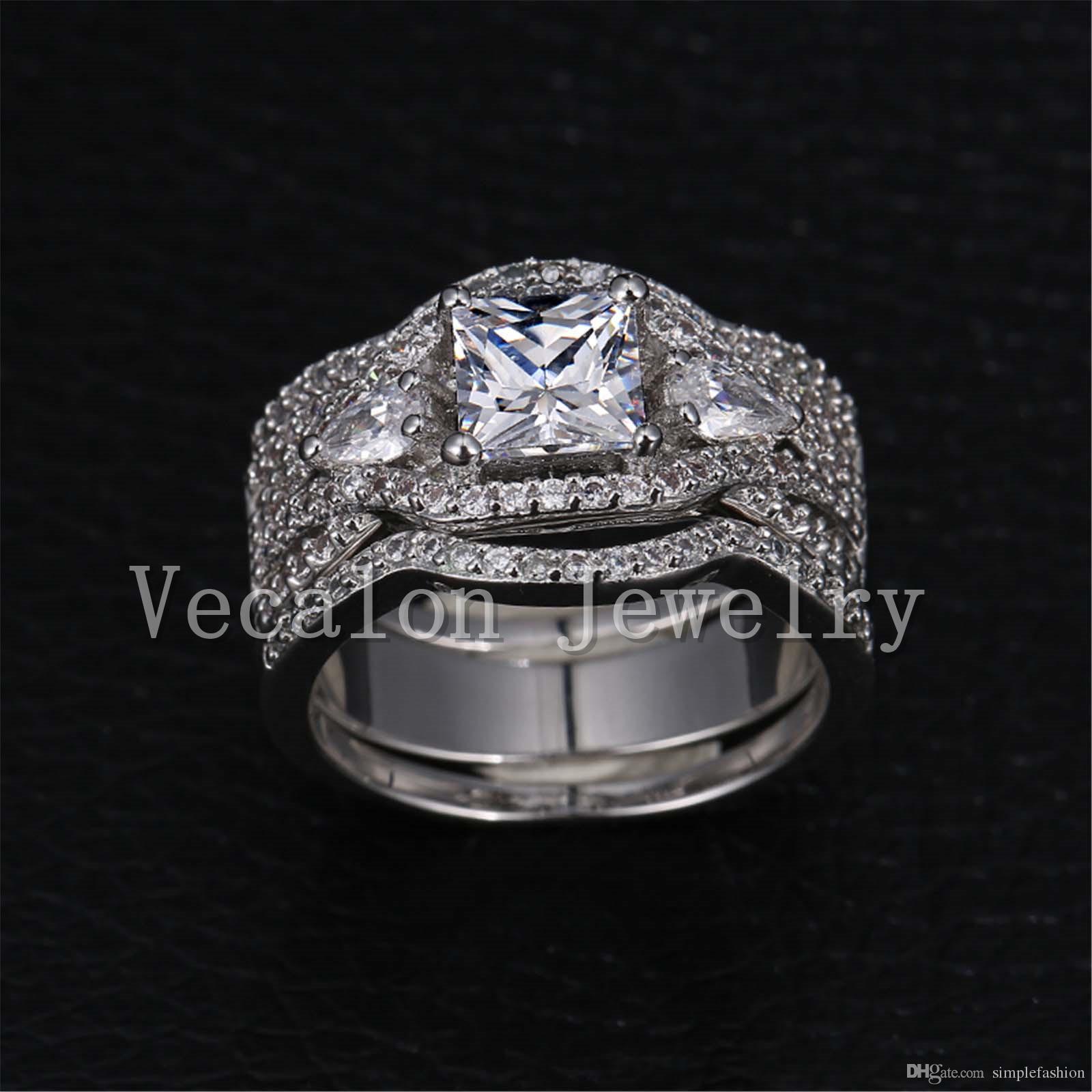 Vecalon 럭셔리 보석 공주 잘라 내기 3ct CZ Simulated 다이아몬드 10KT 화이트 골드 채워진 웨딩 밴드 반지 여성 Sz 5-11에 대 한 설정
