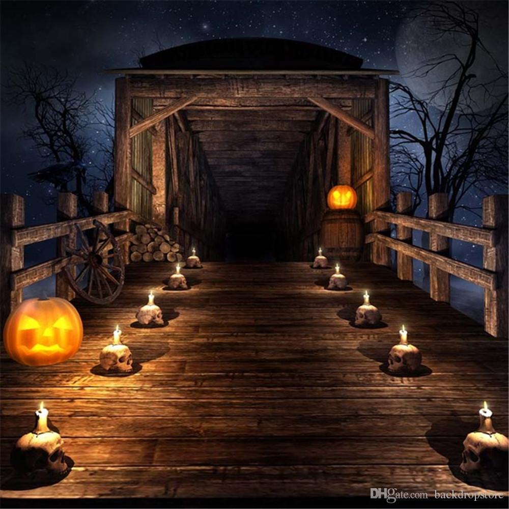 2019 Vintage Wooden Bridge Halloween Photography Backdrops