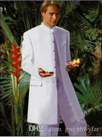 Neue Stil Weiß Bräutigam Smoking Mandarin Revers Groomsmen Trauzeuge Hochzeit Anzüge Abendessen Prom Formelle Kleidung Bräutigam Jacke + Pants + Weste