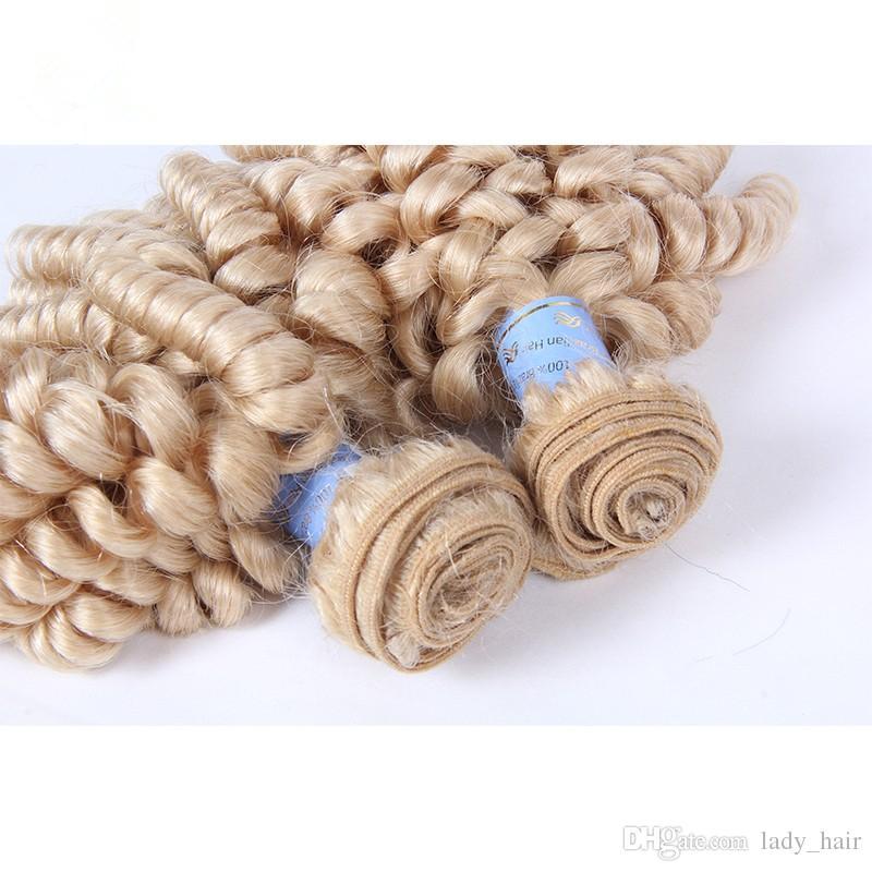 Peruvian Aunty Funmi Blonde Human Hair Extensions Romance Curls 9A Virgin Peruvian #613 Platinum Blonde Funmi Hair Weave Bundles