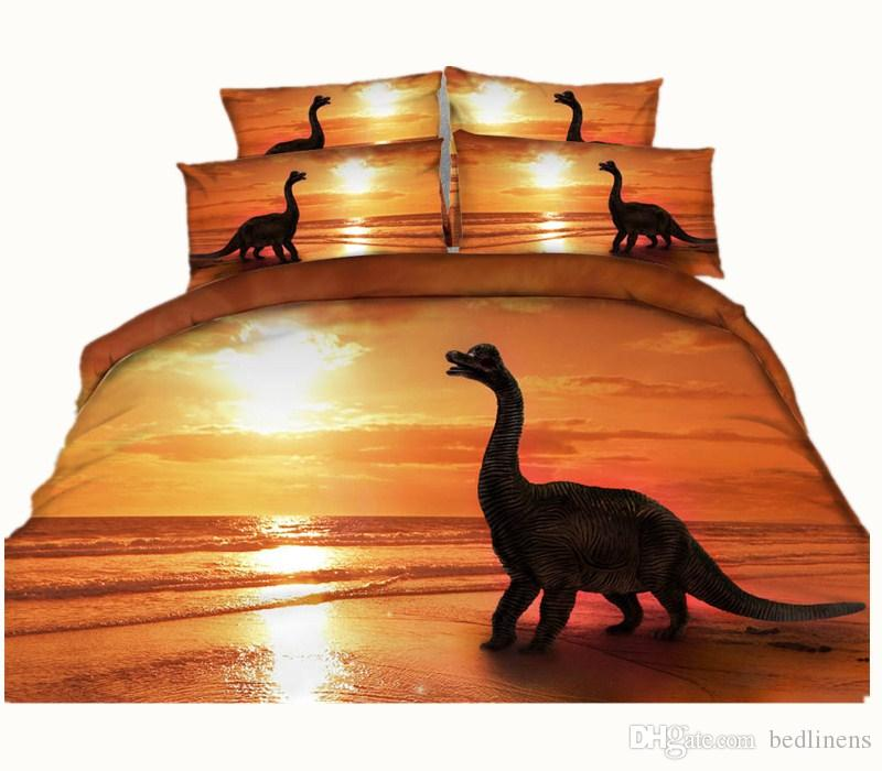 4 Styles Fashion Orange Dinosaur Animal 3D Printed Bedding Set Twin Full Queen King Size Duvet /Quilt Cover Pillowcase Comforter 600TC 3/4PC