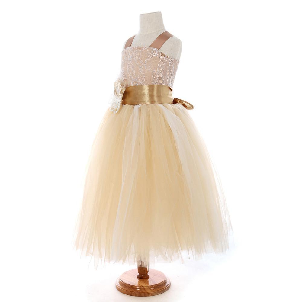 Flower Girl Dresses 2016 vintage lace color champán correas de espagueti esponjosas de tul suaves vestido de niña de flores vestidos para bodas fiesta