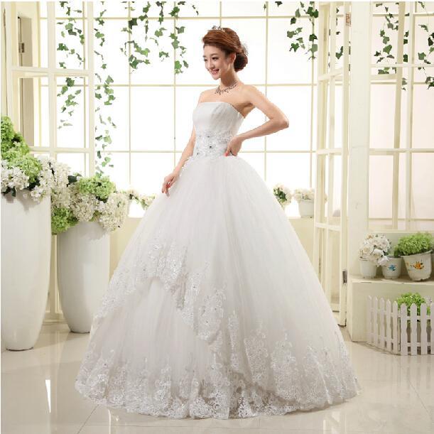Strapless 레이스 Tulle 공 가운 웨딩 드레스 2016 Appliqued 신부 가운 레이스 Vestidos 드 Novia