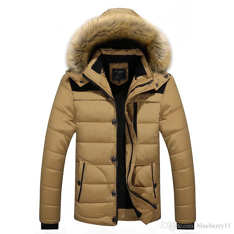 2017 Men Winter Jackets Coats Black Warm Down Jacket Outdoor Hooded Fur Mens Thick Faux Fur Inner Parkas Plus Size Famous Brand L-4XL