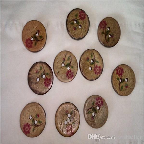 100 sztuk Naturalny Fioletowy Mały Kwiat 2 Otwory Przyciski Kokosowe Szycie DIY Akcesoria Przyciski koszulowe