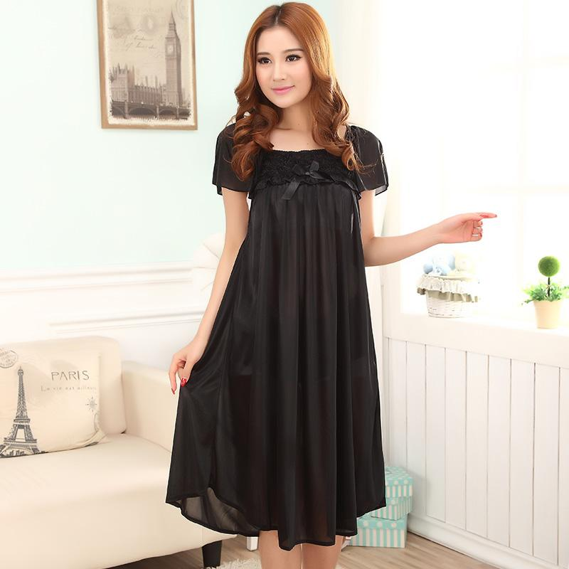 2019 Wholesale Women Sexy Black Lace Imitated Silk Short Sleeve Sleepwear  Plus Size Long Section Nightgown Dress From Regine cd31cd92e