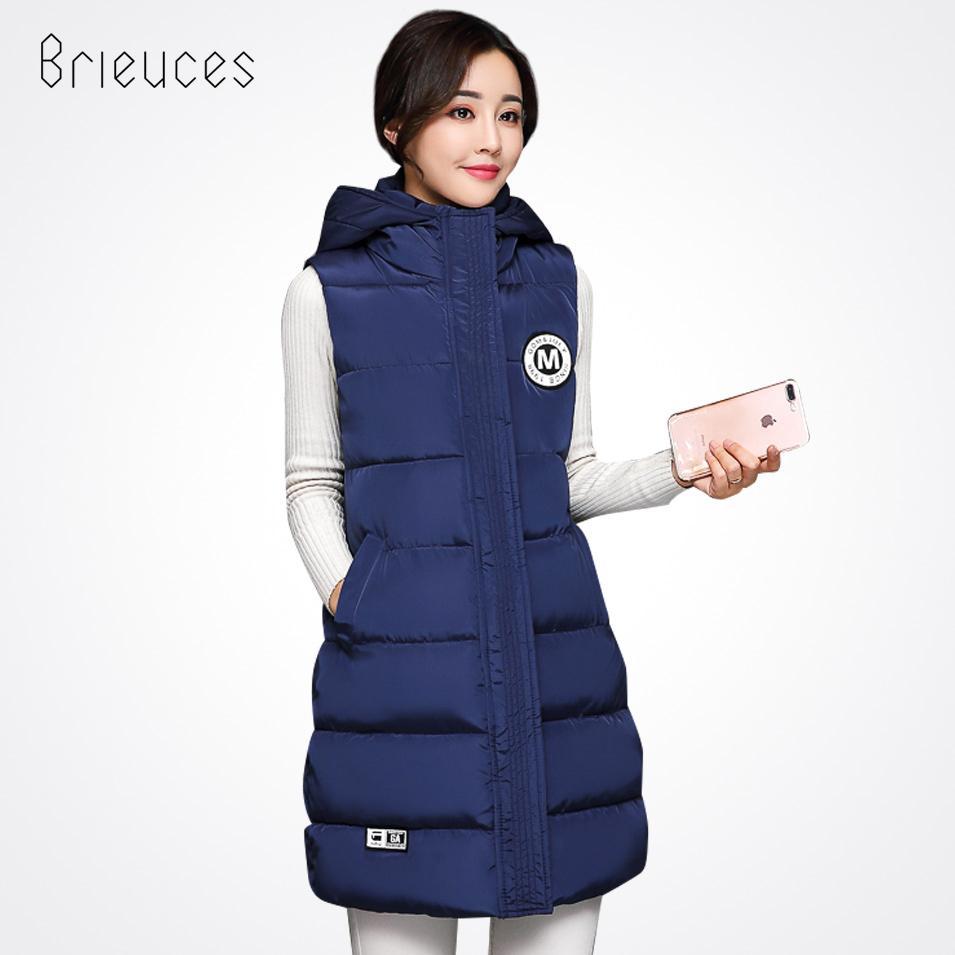 Brieuces Autumn Winter Vest Women Waistcoat 2017 Female Sleeveless Jacket Hooded Letter Warm Long Vest Outwear colete feminino