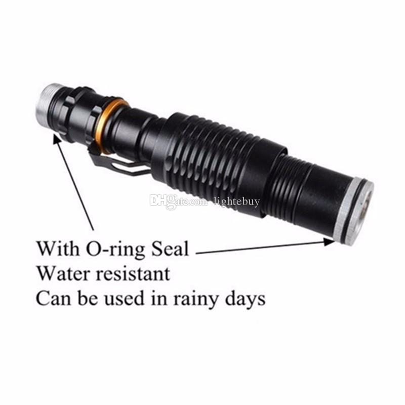 New Rattlesnake XML-T6 Zoomable LED Flashlights Light 2000 Lumen Home Self Defense LED Torch High Power Tactical Lamp