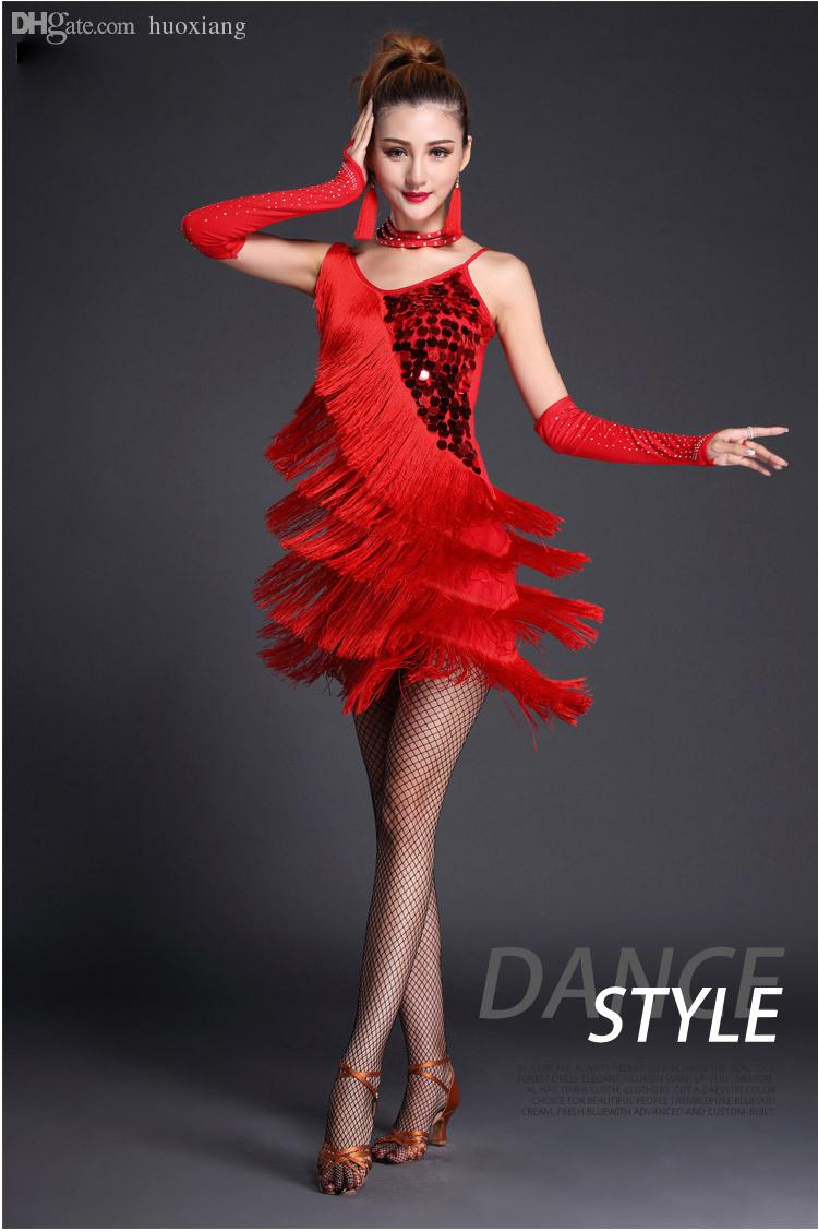 18bb3a165411 2019 Wholesale 2016 Latin Dance Dress Performance Wear Adult Tassel Sequins  Clothing Customize Women Ballroom Dance Dress For Latin Dancing From  Huoxiang, ...