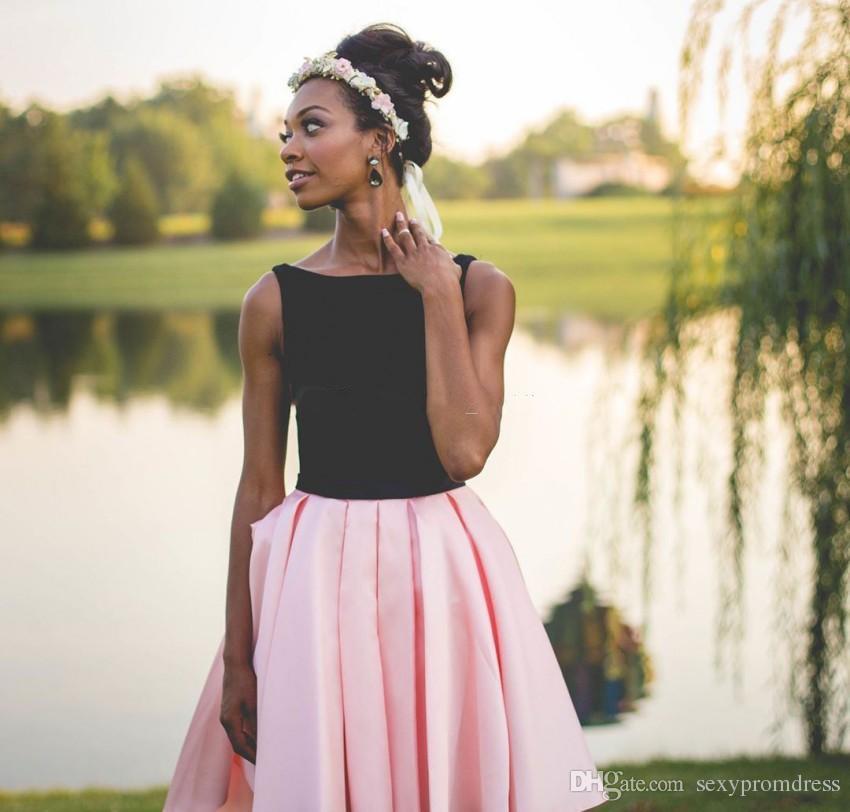 Schwarz und rosa kurze prom kleider südafrikanischen ärmellose abendkleider schwarze mädchen homecoming kleid billige cocktailparty kleid