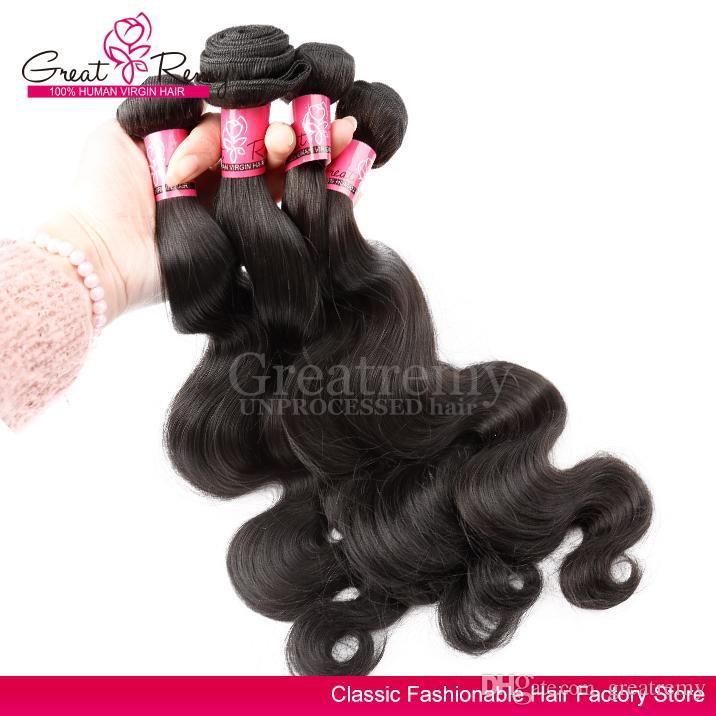 Greatremy® obearbetade peruanska hårförlängningar färgbar kroppsvåg Virgin hårväv buntar 3st / mycket naturligt svart färg hår väv väv