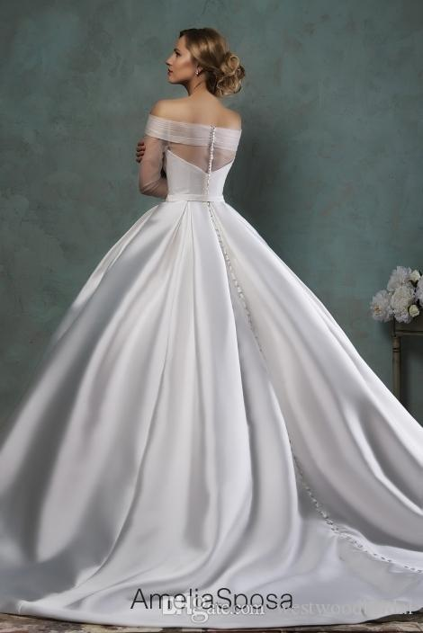 2018 Wedding Dress Amelia Sposa Paoliba Lace Ball Gown Wedding Dresses Bridal Gowns Vestido De Novia Satin Buttons off Shoulder Long Sleeve