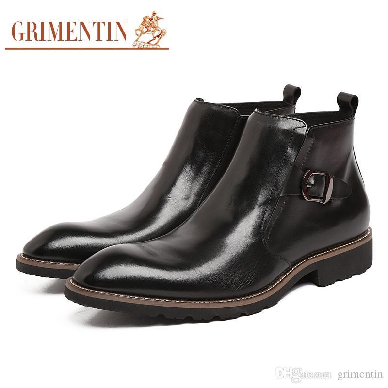02956e1b84 Compre GRIMENTIN Diseñador De Moda De Alta Calidad Vestido Para Hombre Botas  De Marca De Cuero Genuino Vestido De Los Hombres Botas Formales Venta  Caliente ...