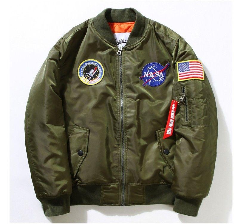 8a37a45db7fc WINTER Flight Pilot NASA Navy Flying Jacket Men MA1 Bomber Jacket ...