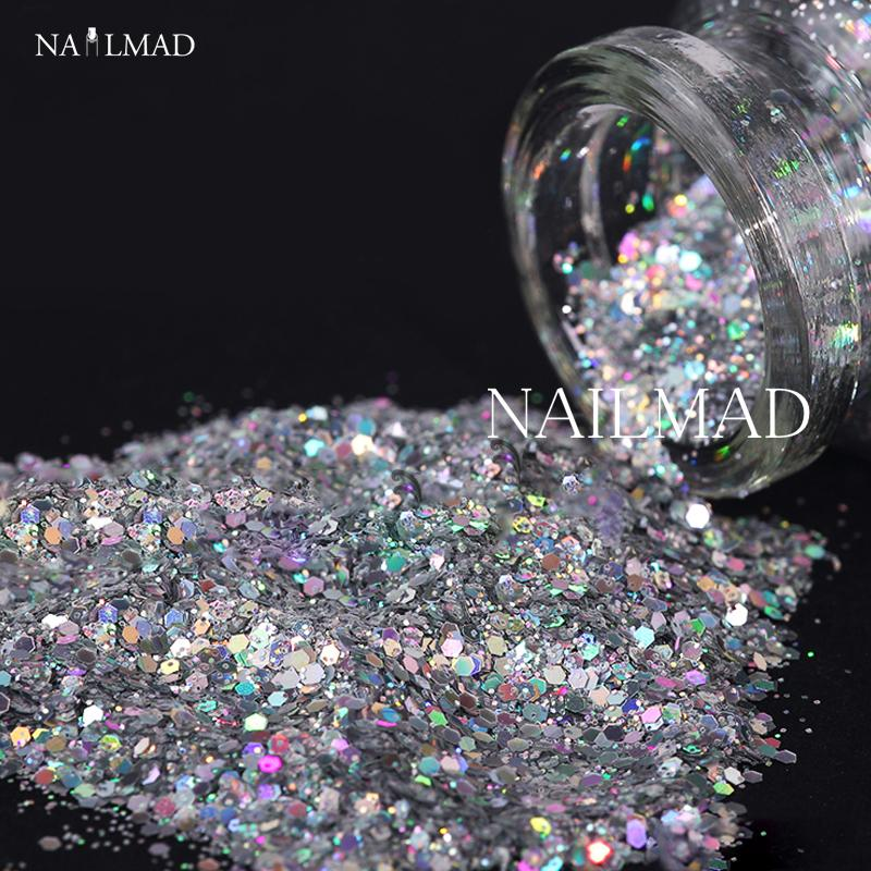 Wholesale 1 Box Laser Nail Glitter Sequin Holographic Silver Glitter Powder  Mixed Hexagon Nail Sparkle Manicure Makeup Nail Art Decoration Acrylic Nails  ... a3908a866cd5