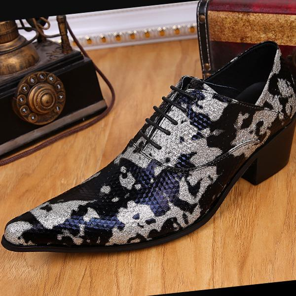 Fashion men's shoes men's shoes high quality Camo color lace up Oxford party ball dance shoes polished casual leather shoes