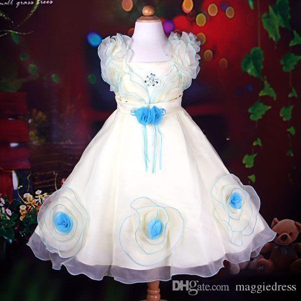 Handmade Flower Girls Dresses Ruffle Flower Organza 2016 Little Kids Dresses Gowns Flower Girl Party Dresses Special Occasion For Weddings