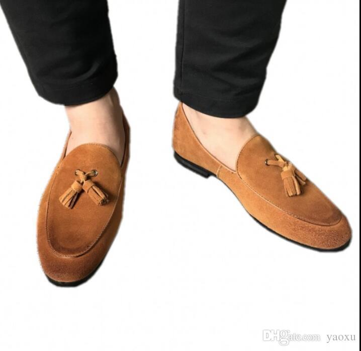 Hombres Oxfords de cuero en punta del pie Oxfords Vestido de negocios Zapatos Oxford formales para hombres Pisos Zapatos de boda DHA17