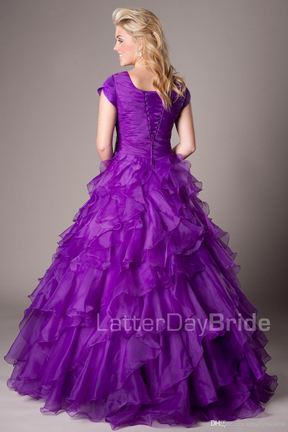 Purple Ball Gown Modest Prom Dresses With Cap Sleeves Long Corset Back Pleated Ruffles Organza Modest Teens Formal Party Prom Dresses Gowns