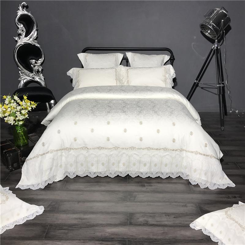 Luxury Egyptian Cotton Bedding Set Embroidery Lace Bed Linens Satin Bed  Sheet Set White Bedclothes Queen/King Size Bed Cover Cheap Duvet Cover Sale  Bedding ...