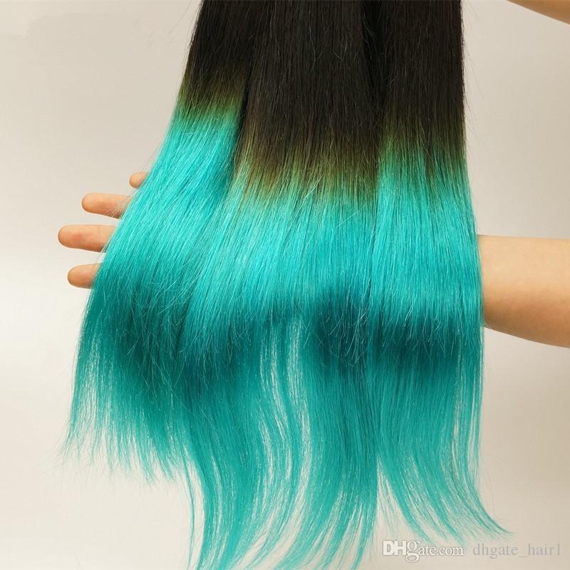 9A Peruvian 1B 청록색 2 톤 인간 버진 헤어 번들 3 개 Silky Straight Extensions 다크 루틸 청록색 Ombre Human Hair Weaves
