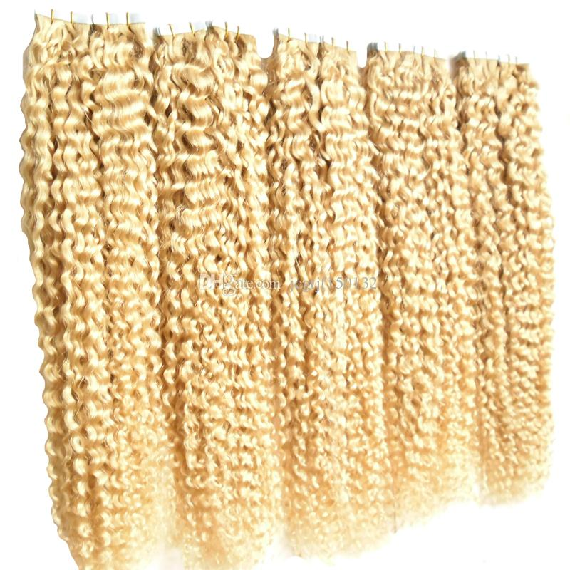 #613 Bleach Blonde Brazilian Hair 500g Skin Weft Tape Hair Extensions 2.5g strand Brazilian Kinky Curly Tape In Human Hair Extensions