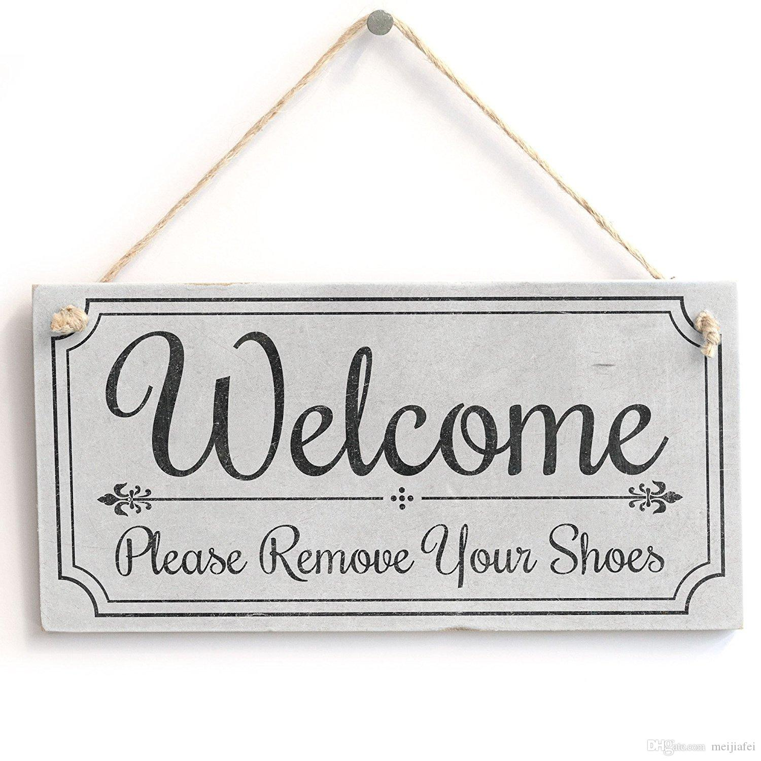 photo about Please Remove Your Shoes Sign Printable Free named Meijiafei Welcome Remember to Take away Your Footwear - Lovable Welcome Indicator - Classic PVC Doorway Signal Plaque 10 x5