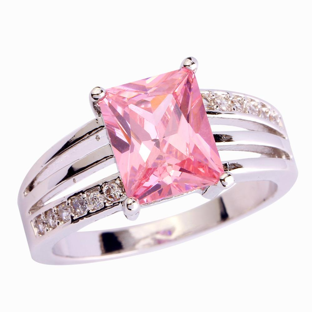 New Jewelry Pink Topaz Gems 18K White Gold Plated Silver Ring Size 6 ...