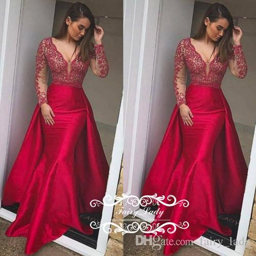 011259951f Stylish Red Overskirt Mermaid Prom Dresses 2018 Sheer Long Sleeves Backless  Deep V Neck Appliques Beading Women Formal Evening Gowns Cinderella Prom  Dresses ...