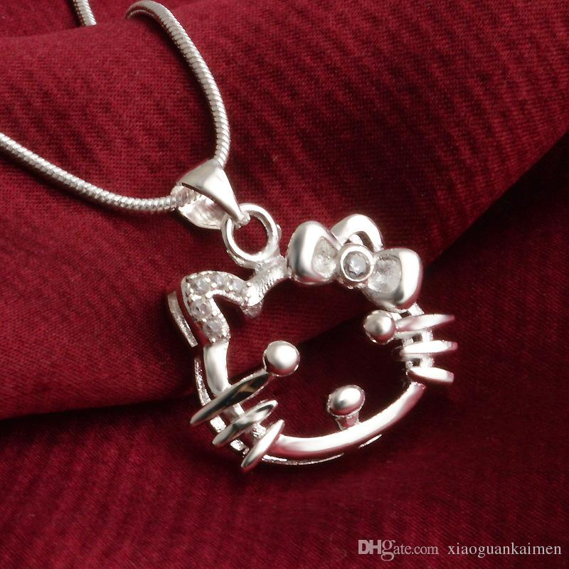 Hello Kitty cat charm Necklace Pendants hot brand New fashion popular amethyst pendants 925 Sterling silver High quality jewelry