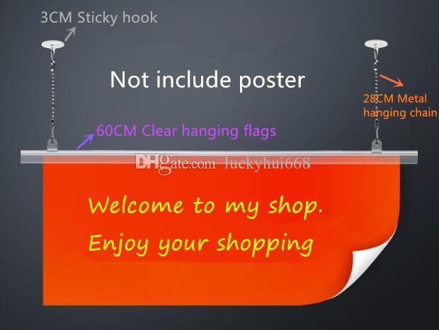 Supermarket pop Poster hanging flags Hanger Strip extruded clip frame banner display stand holder rack