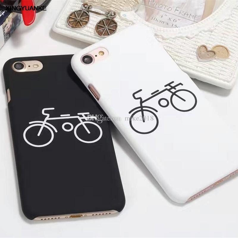 Satın Al Karikatür çiftler Bisiklet Boyama Sert Buzlu Telefon Kılıfı