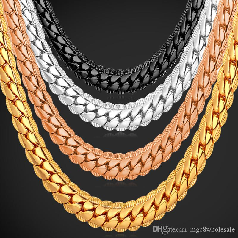 U7 Punk Chunky 6MM Snake Chain Necklace Bracelet Fashion Gold