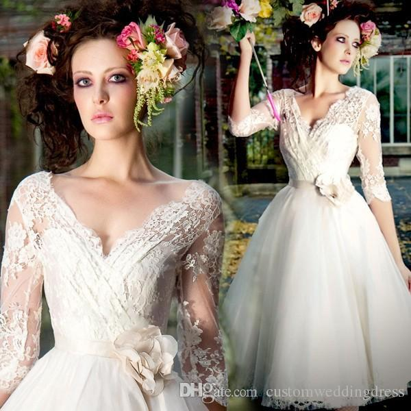 fast shipping in stock three quarter sleeves handmade flower v-neck lace short knee length wedding dress bridal gown