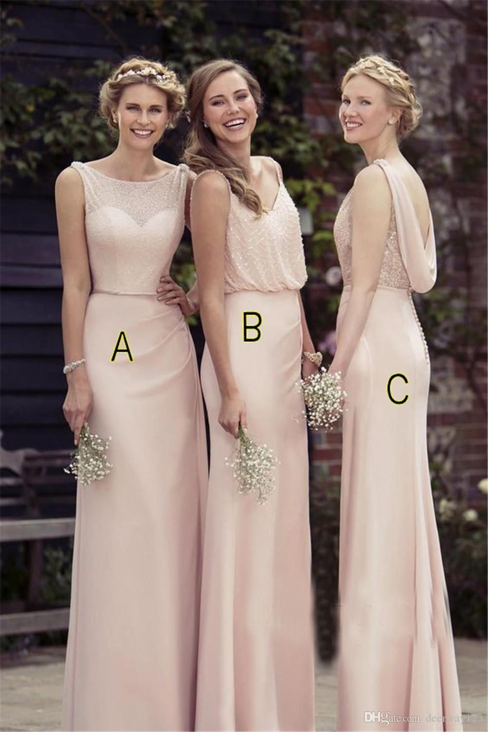 Damasco Longo Chiffon Barato Dama de Honra Vestidos de 3 Estilos de Nudez Longo Partido Vestido Formal vestido de playa blanco
