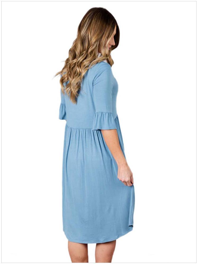 O-Collo da donna mezza manica Casual Top T-shirt a pieghe Vestidos Taglia: S M L XL DLM61652