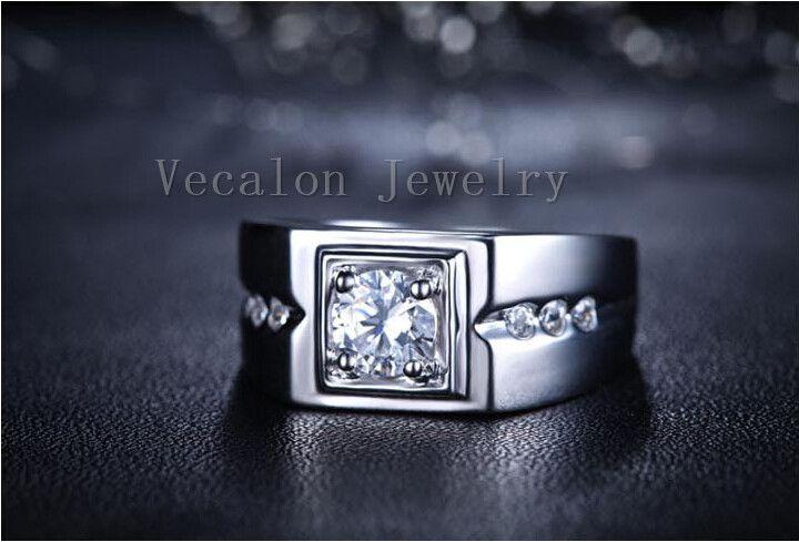 Vecalon ручной обручальное кольцо для мужчин 1ct Cz Алмаз 925 стерлингового серебра мужской обручальное кольцо палец кольцо ювелирные изделия r332