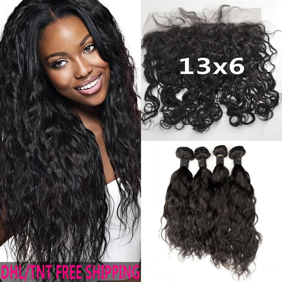 Cheap Human Hair With Closure Peruvian Wet And Wavy Lace Frontal
