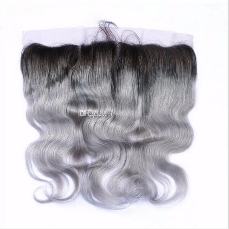 El cabello humano de la Virgen de la India teje el cabello gris de Ombre se teje con 13 * 4 encaje Friver Sliver Gray Body Wave Oreja al oído Frontal con paquetes