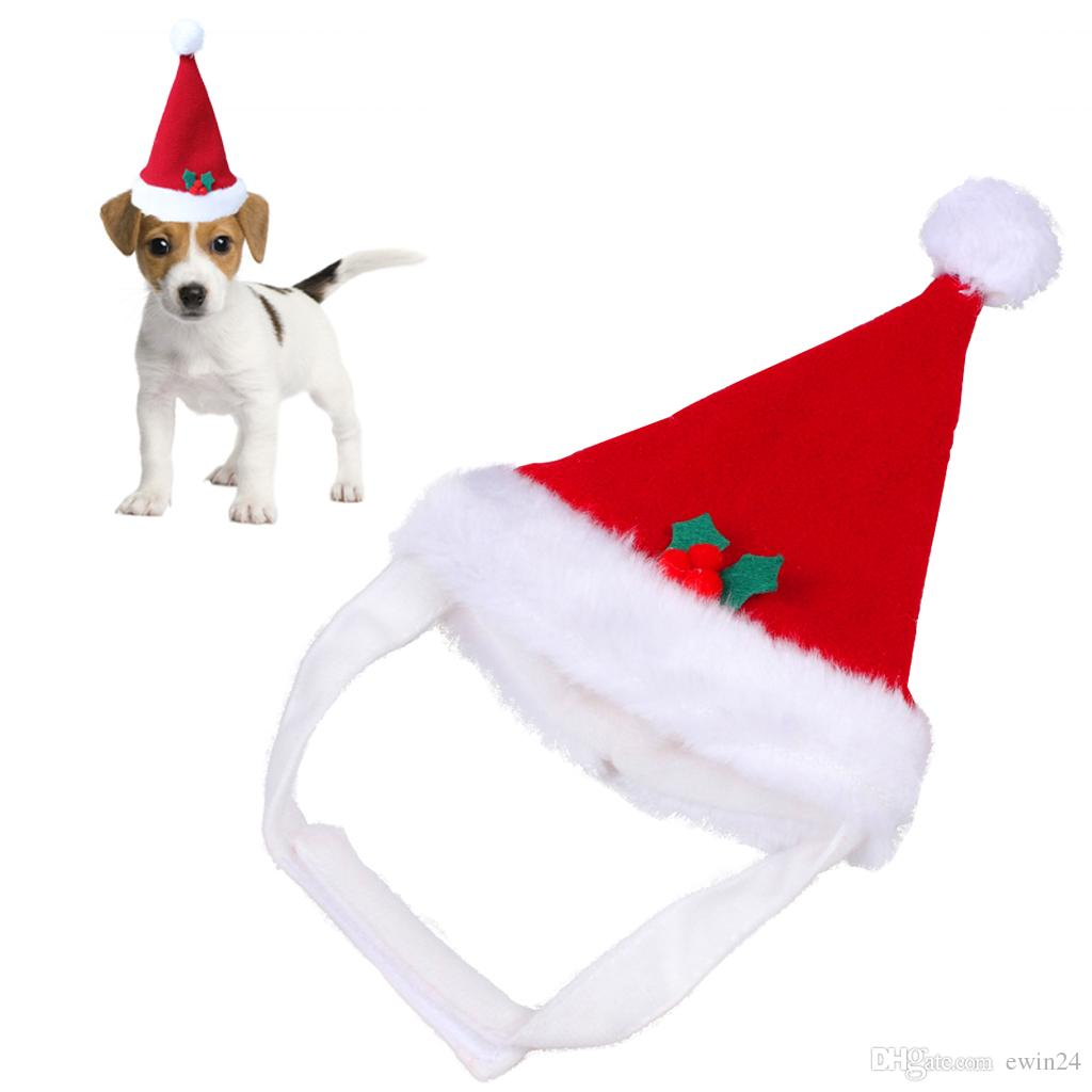 Red Warm Santa Hat Festivals Feste natalizie per animali Puppy Kitten Winter Christmas Decoration Party Nuovo
