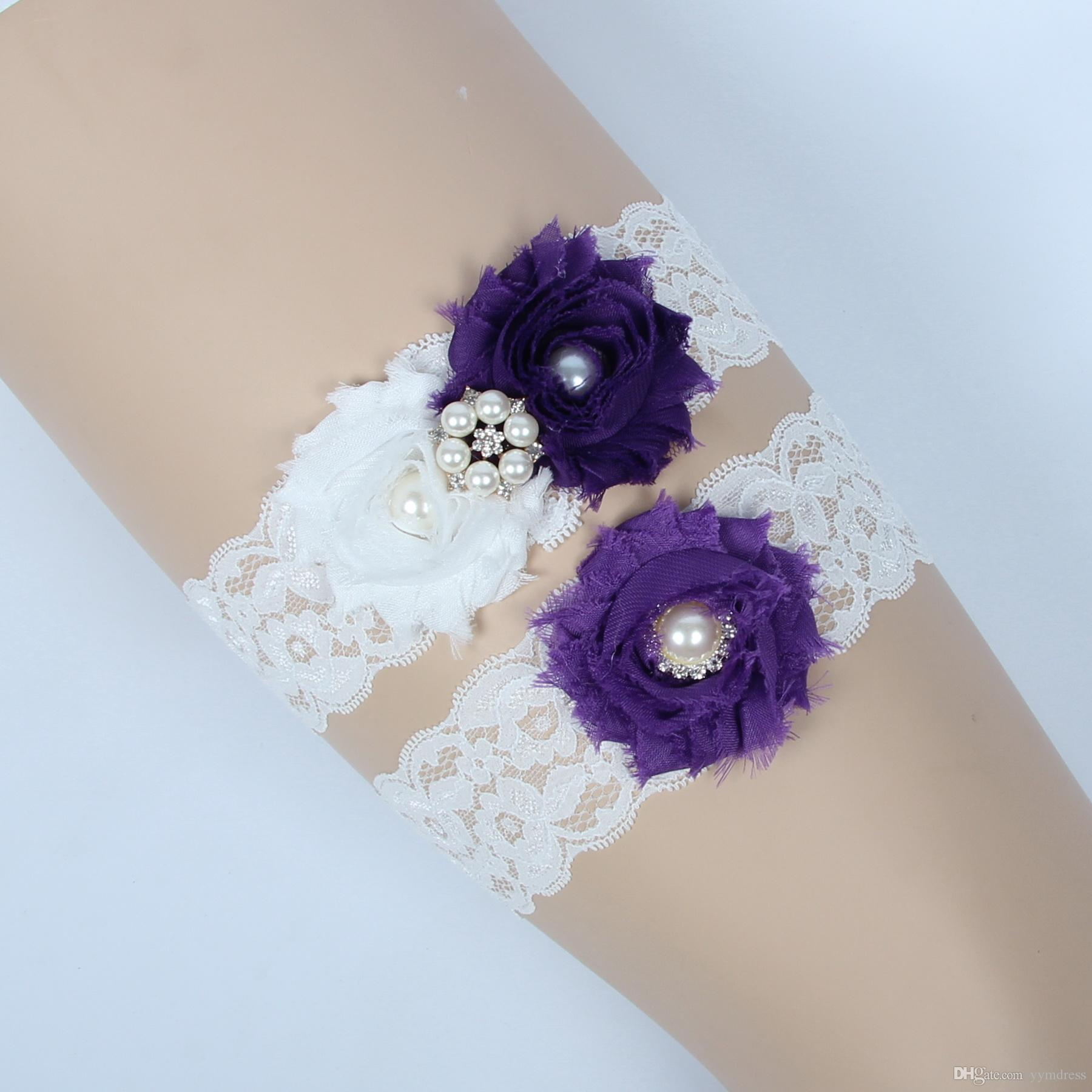 Vintage Bridal Garters Prom Garter Bridal Wedding Garter set Purple Lace Rhinestones Pearls Crystals In Stock Cheap Plus Size